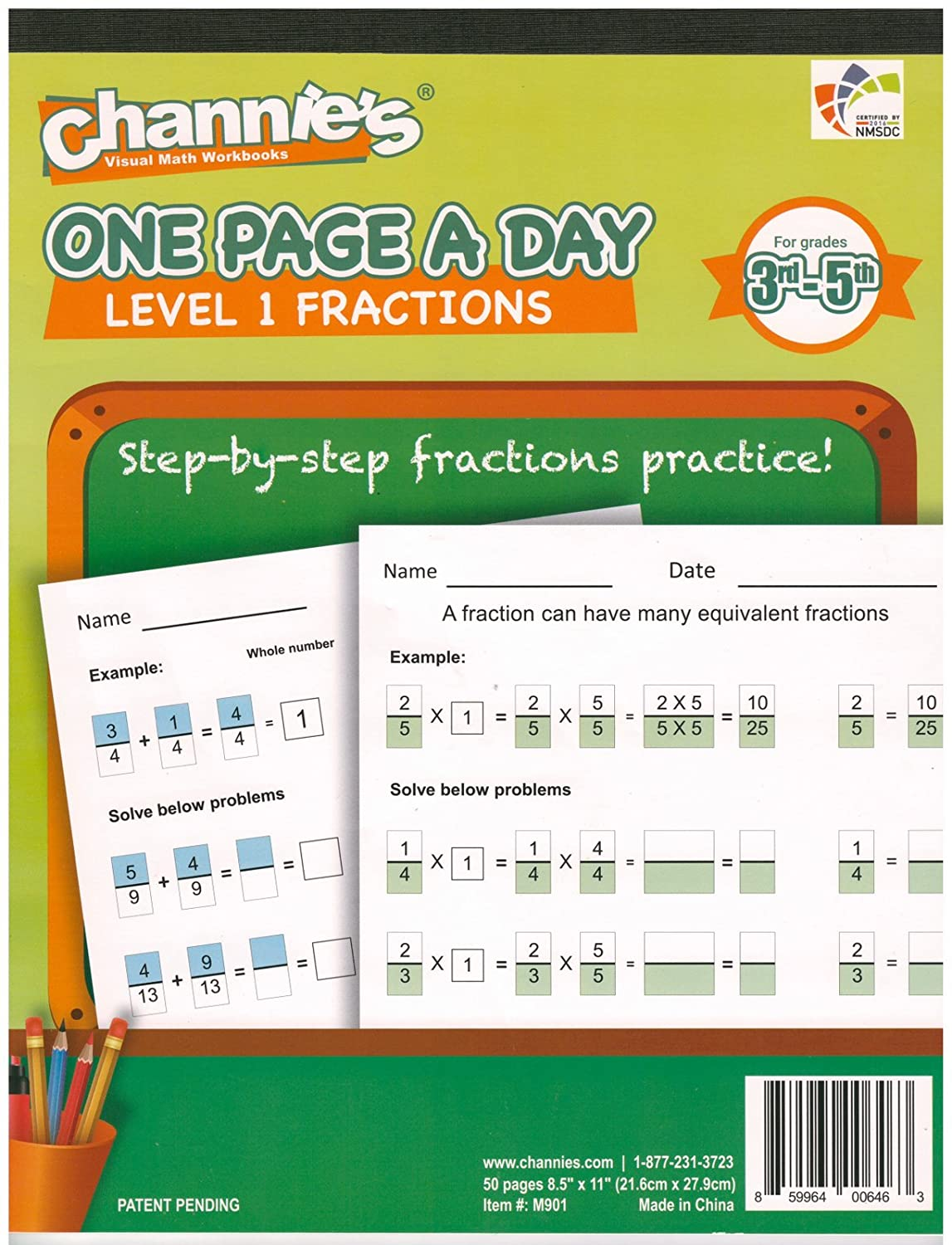 Amazon.com : Channie\'s One Page A Day Workbook, Beginner Fraction ...