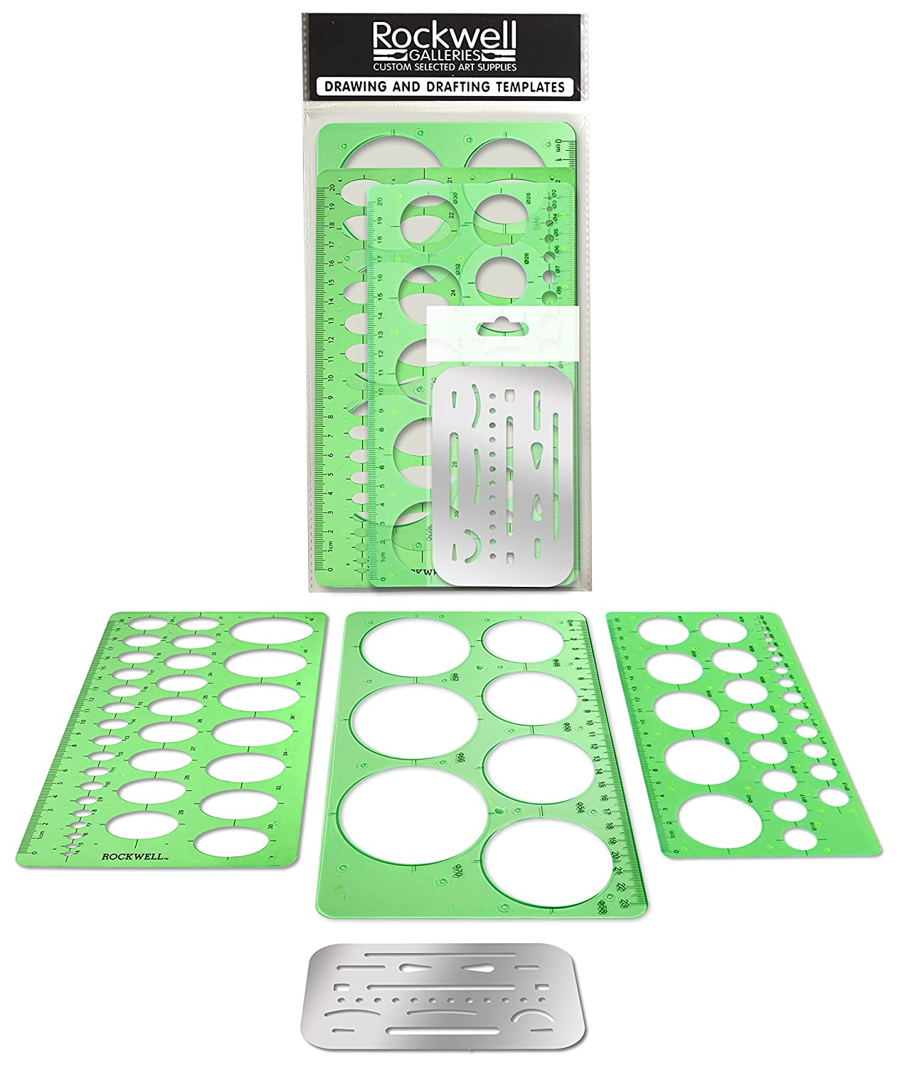 Rockwell Galleries - Circle Templates, Oval Template and Erasing Shield for Drawing, Drafting and Creating by Rockwell Galleries - for Home, Office, Creative Studio or Personal Drawing and Drafting. AWF Online Sales 4336946693
