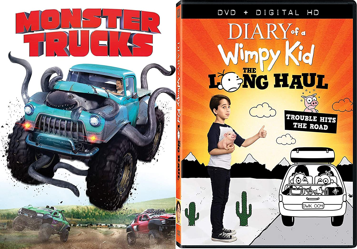Amazon Com Monster Haul Movie Family Fun 2 Pack Dvd Diary Of A Wimpy Kid The Long Haul Monster Trucks Bundle Double Feature Movies Tv