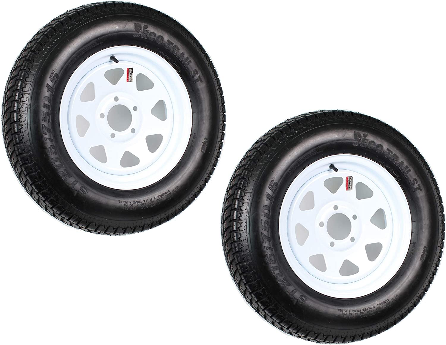 2-Pk Trailer Tire On Rim ST205/75D15 F78 205/75 LRC 5 Lug White Spoke Wheel