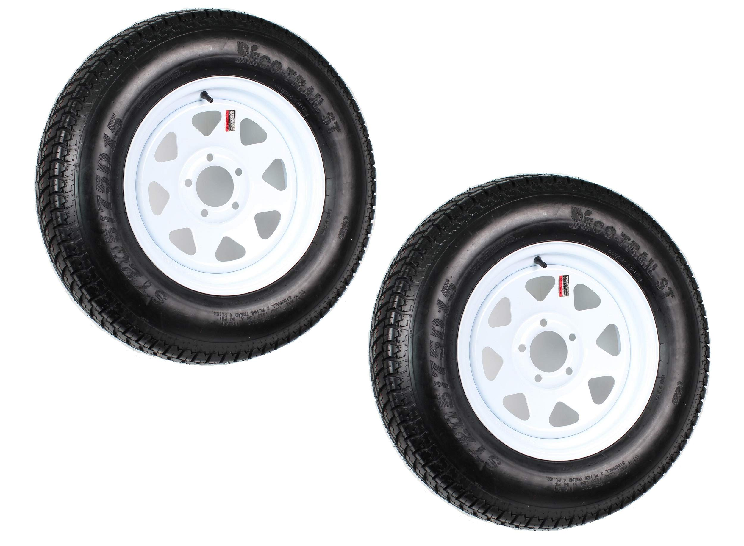 2pcs Trailer Tires & Rims ST205/75D15 F78-15 205/75-15 15'' 5 Lug 4.5'' Wheel White Spoke