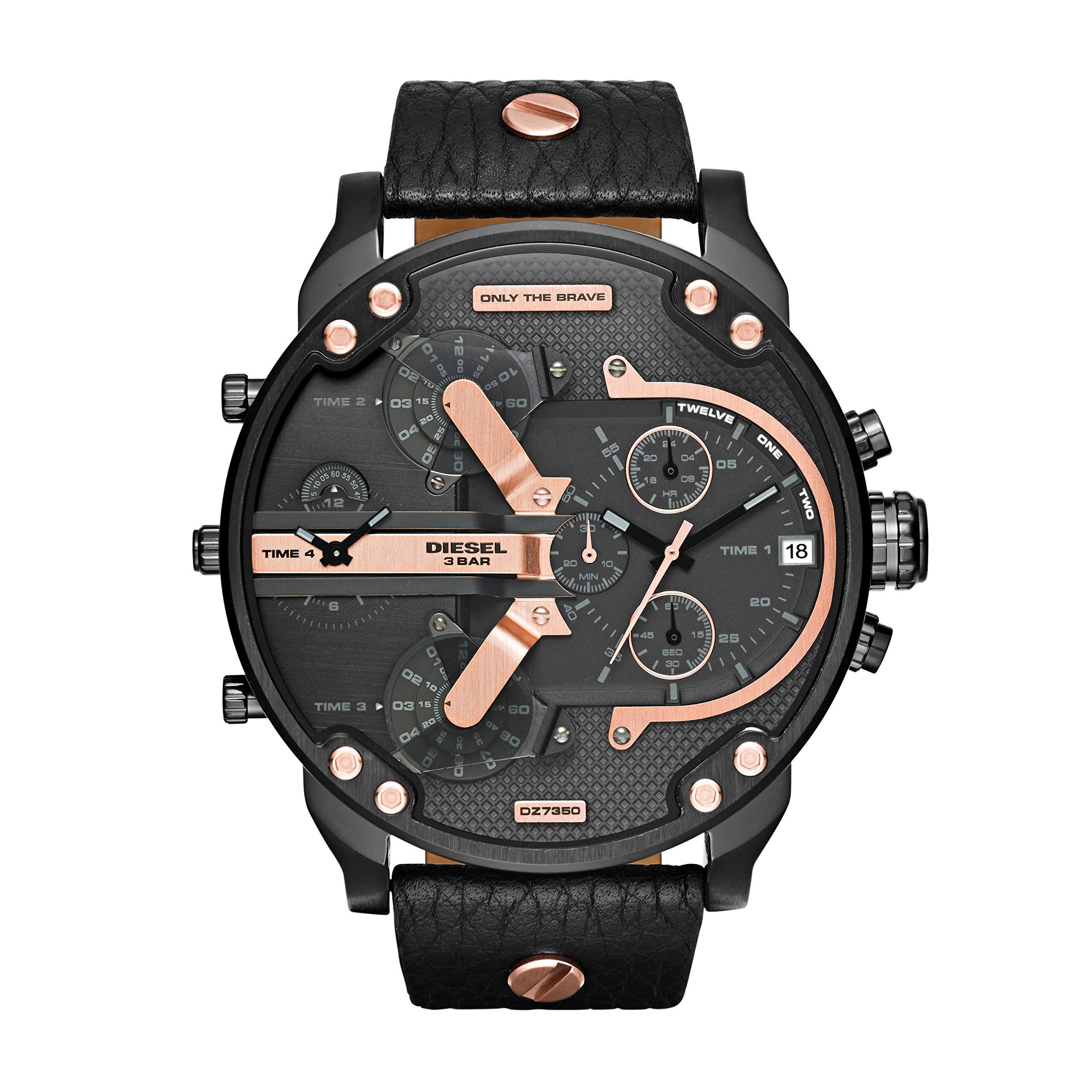 Diesel Men's DZ7350 Mr Daddy 2.0 Black Ip  Black Leather Watch by Diesel