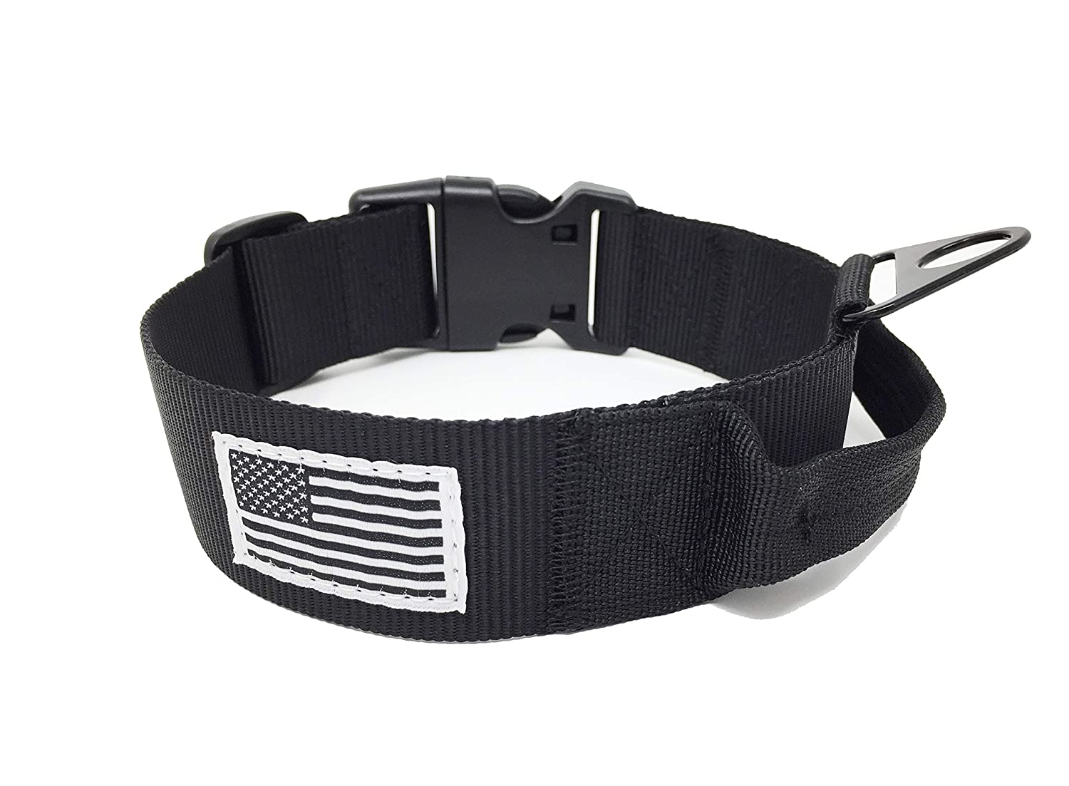 Medium Tactical Dog Collar with Handle 1.5  Width Military SPEC US Flag
