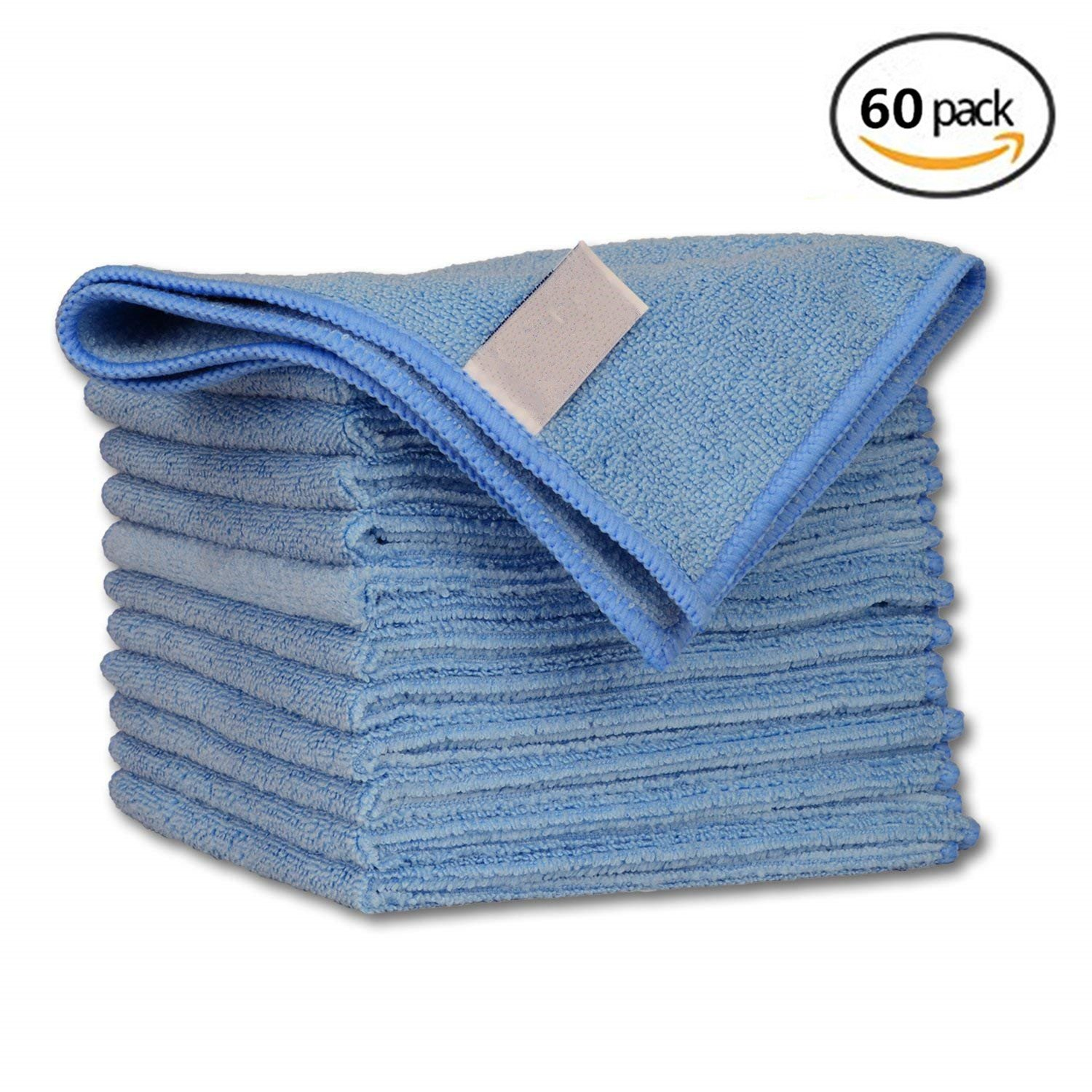 Geekinstyle Pro Multi-Purpose Microfiber Towel – 60 Pack | Premium Cleaning Cloths Rag for Kitchen Furniture Car | Clean, Dust, Polish, Absorb | Small 12''x12'' (Blue)