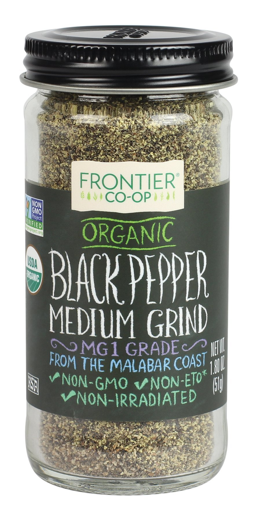 Frontier Natural Black Pepper Medium Grind Organic, 1.8000-ounces (Pack of3)