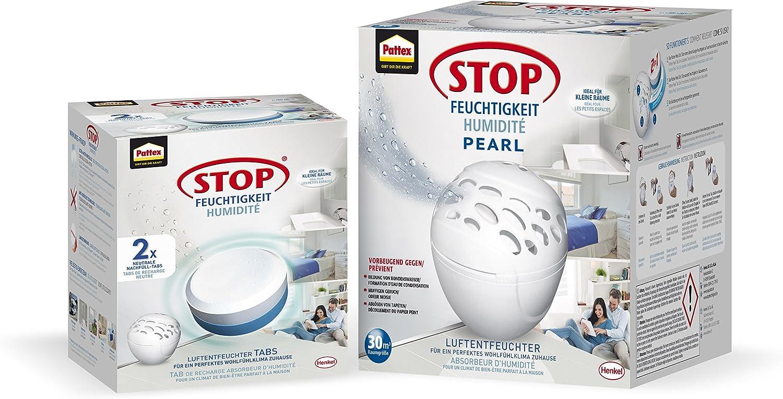 2 x 300g Pattex Stop Feuchtigkeit Pearl Luftentfeuchter Nachf/üllpack Geruchsneutralisierung bis zu 70/% Gegen Feuchtigkeit und schlechte Ger/üche 2 Nachf/ülltabs