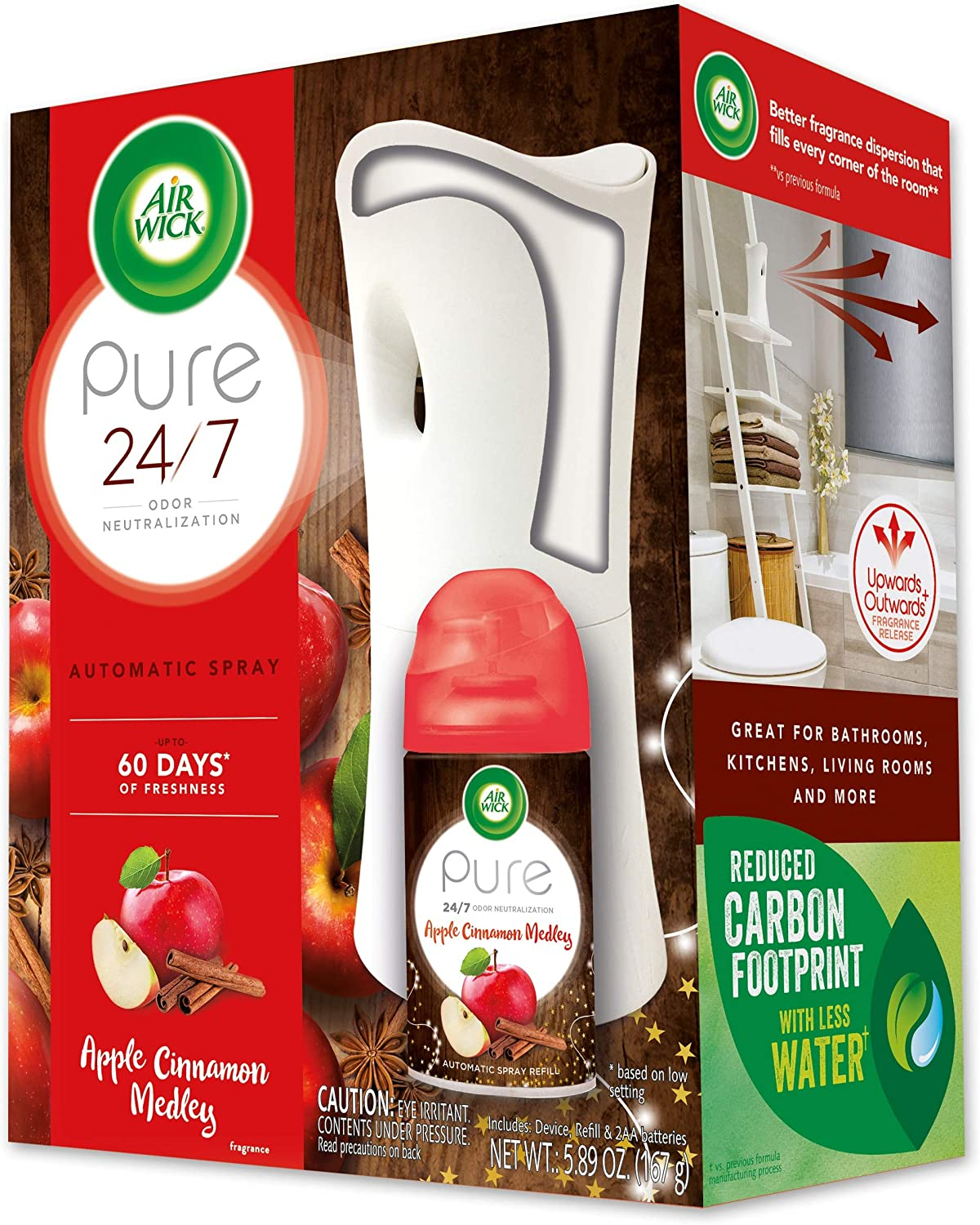 Air Wick Freshmatic Automatic Spray Starter Kit, (Gadget + Refill), Apple Cinnamon Medley, Holiday scent, Holiday spray, Essential Oils, Air Freshener, Odor Neutralization, Packaging May