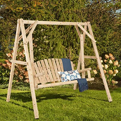 TANGKULA Wooden Porch Swing Outdoor Patio Rustic Torched Log Curved Back Porch  Swing And A