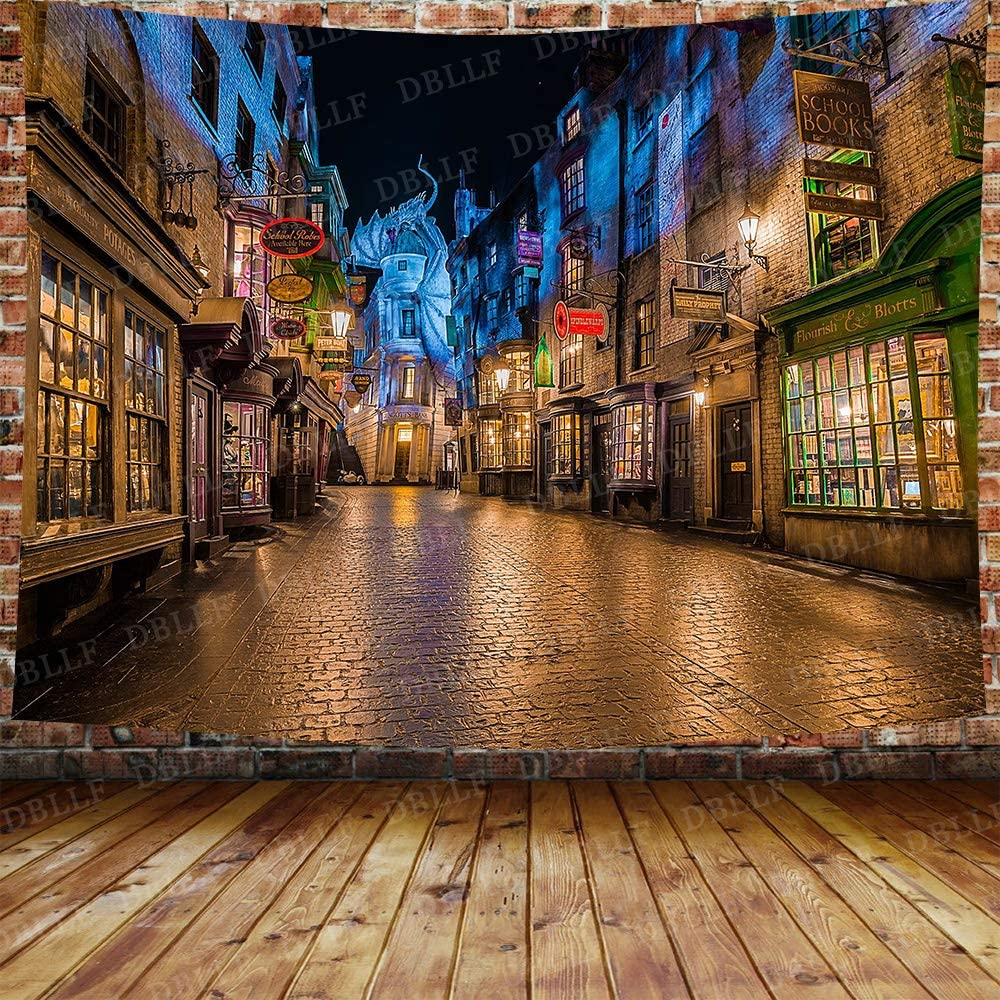 DBLLF Fantasy Castle Tapestry Magic Decor Night View Alley Stores Street Diagon Magic World Wall Hanging Flannel Art Tapestries for Bedroom Living Room Dorm DBZY1485