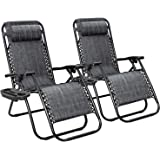 Flamaker Patio Zero Gravity Chair Outdoor Folding Lounge Chair Recliners Adjustable Lawn Lounge Chair with Pillow for Poolside, Yard and Camping (Grey)