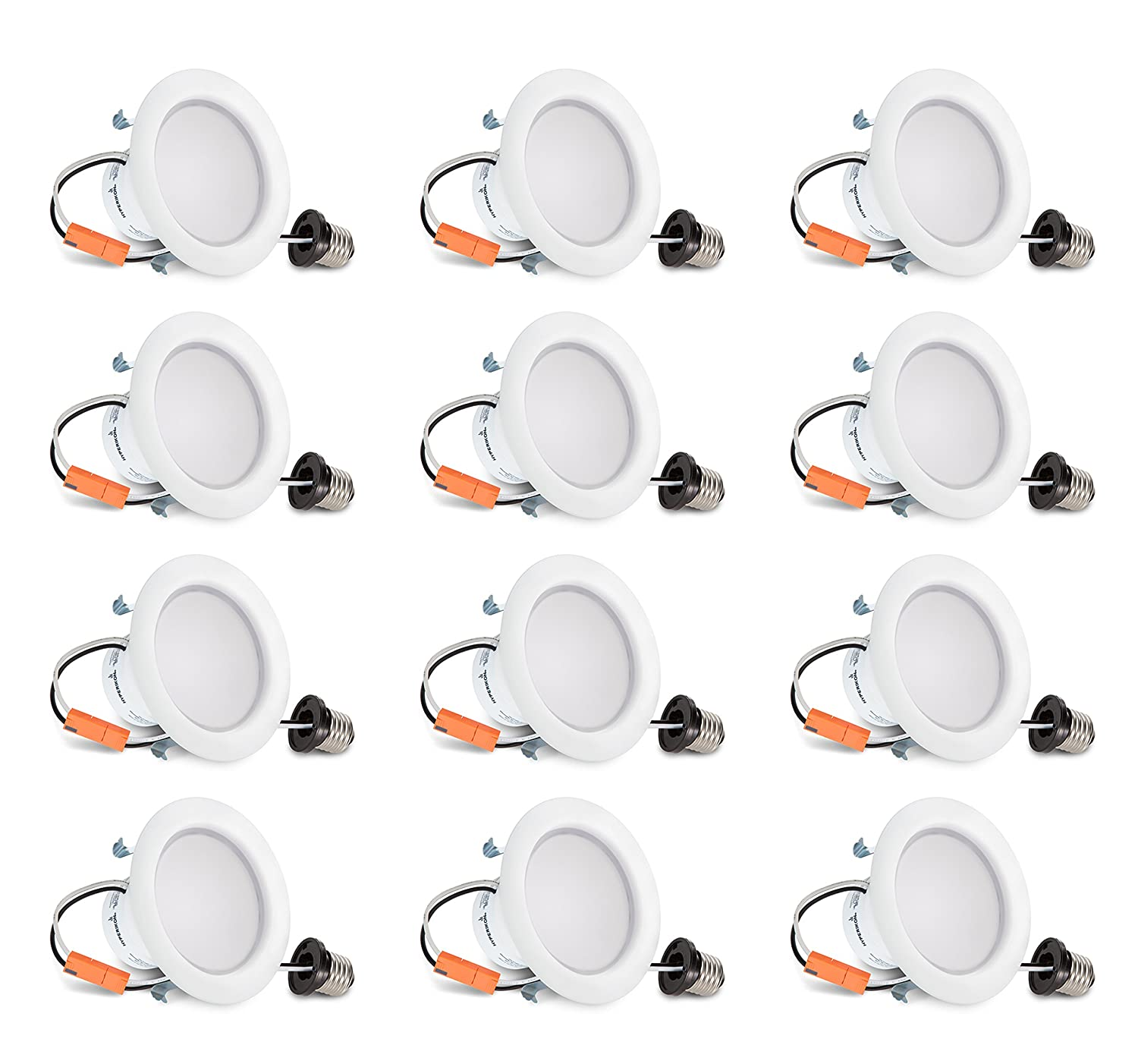 Hyperikon 4 Inch LED Recessed Lighting Dimmable Downlight, 9W (65W Equivalent), 4000K, CRI94, Retrofit Lighting Fixture, Great for Cans in Bathroom, Kitchen, Office (12 Pack)
