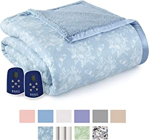 Thermee Micro Flannel Electric Blanket with Sherpa, Toile Sky Blue, Queen