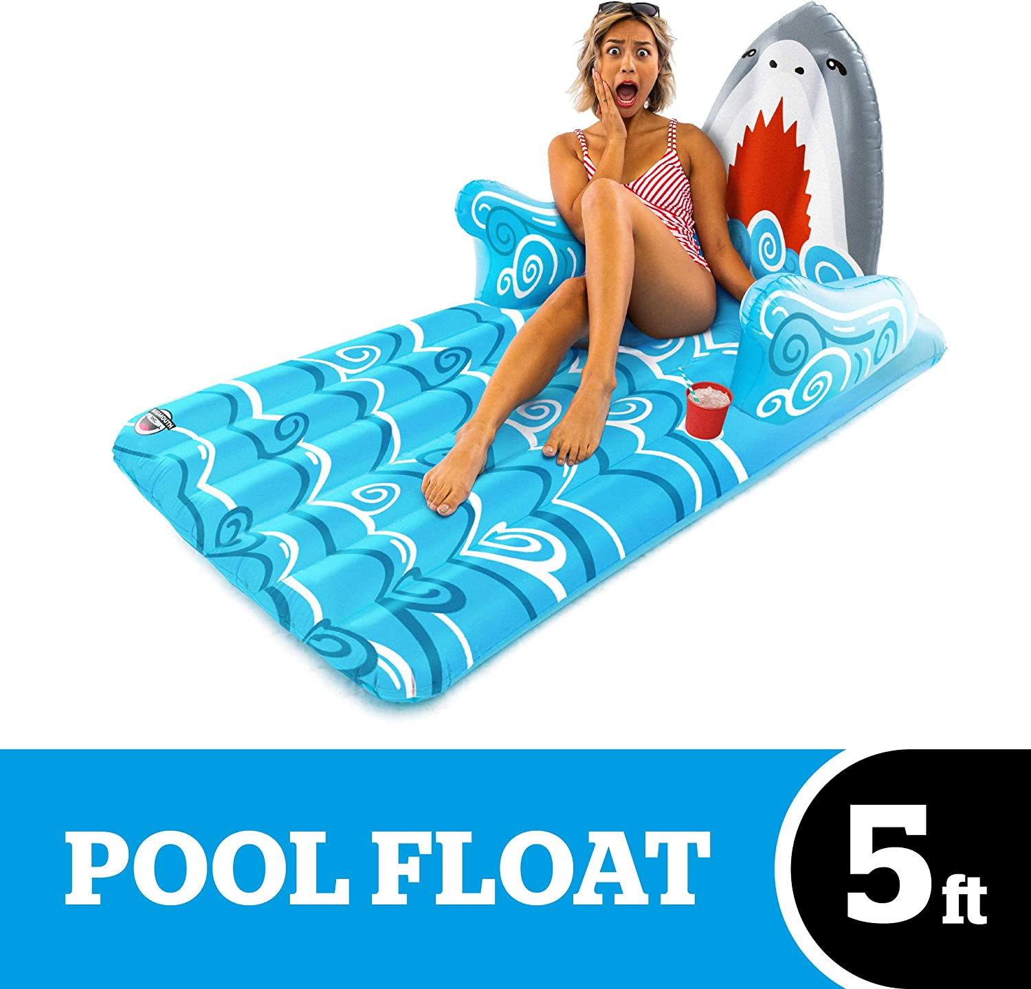 BigMouth Inc. Shark Lounger Float – 5 Foot Pool Float, Durable Inflatable Vinyl Summer Pool or Beach Lounger, Built-in Cup Holder, Makes a Great Gift