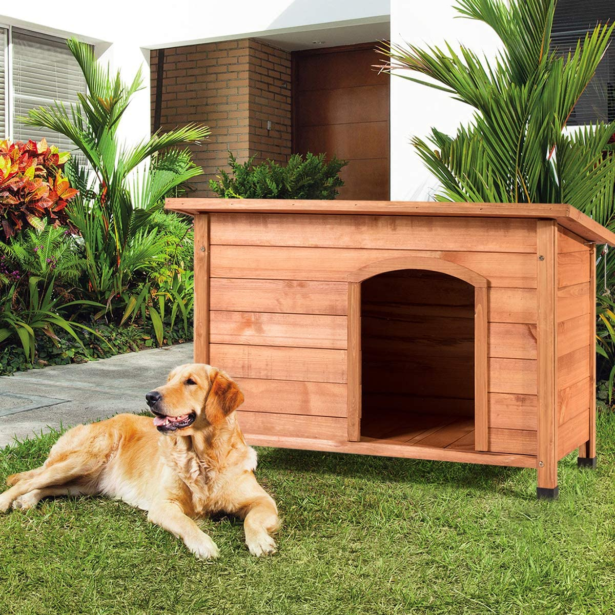 Tangkula Dog House, Outdoor Weather-Resistant Wooden Log Cabin, Home Pet Furniture, Pet House with Adjustable Feet & Removable Floor, Pet Dog House