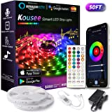 Kousee 50FT/15M Smart LED Light Strip Compatible with Alexa, APP Control 15M RGB Light Strip Sync with Music, 16 Million Colo