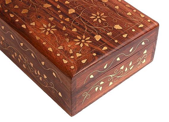 scatola dei ricordi con intarsi in ottone include: Mughal Inspired x-20,32 12,70 Decorative Storage Jewelry in legno 8 x 5 cm