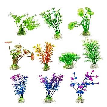 Jolintek 10 Piezas Plantas Artificiales Plástico decoración de Acuario ...