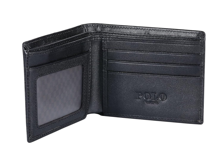 Protector de Tarjeta de cr/édito excelente W1-Negro Stop Electronic Pickpocketing Polo VIDENG Bloqueo de RFID Cartera de Cuero para Hombres