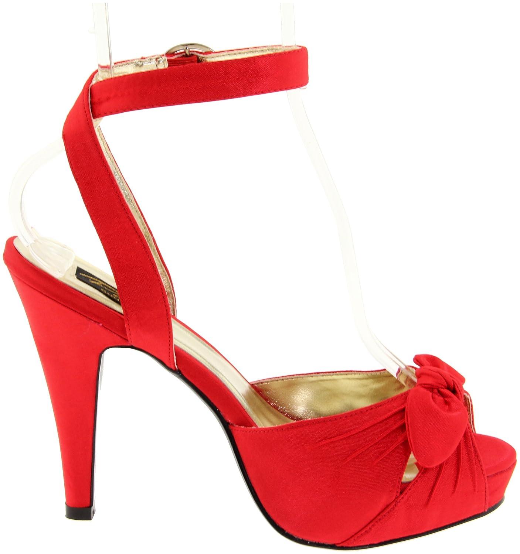 Pleaser Women's Bettie-04/R Ankle-Strap Sandal B004NNJ38U 9 B(M) US|Red Satin