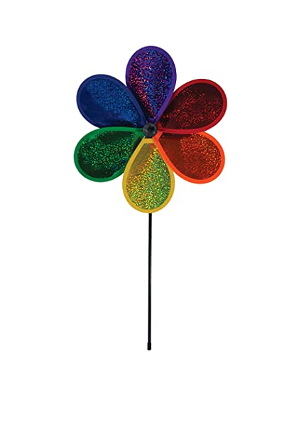 In the Breeze 12 Inch Rainbow Glitter Flower - Mylar Material - Colorful Wind Spinner for your Yard and Garden