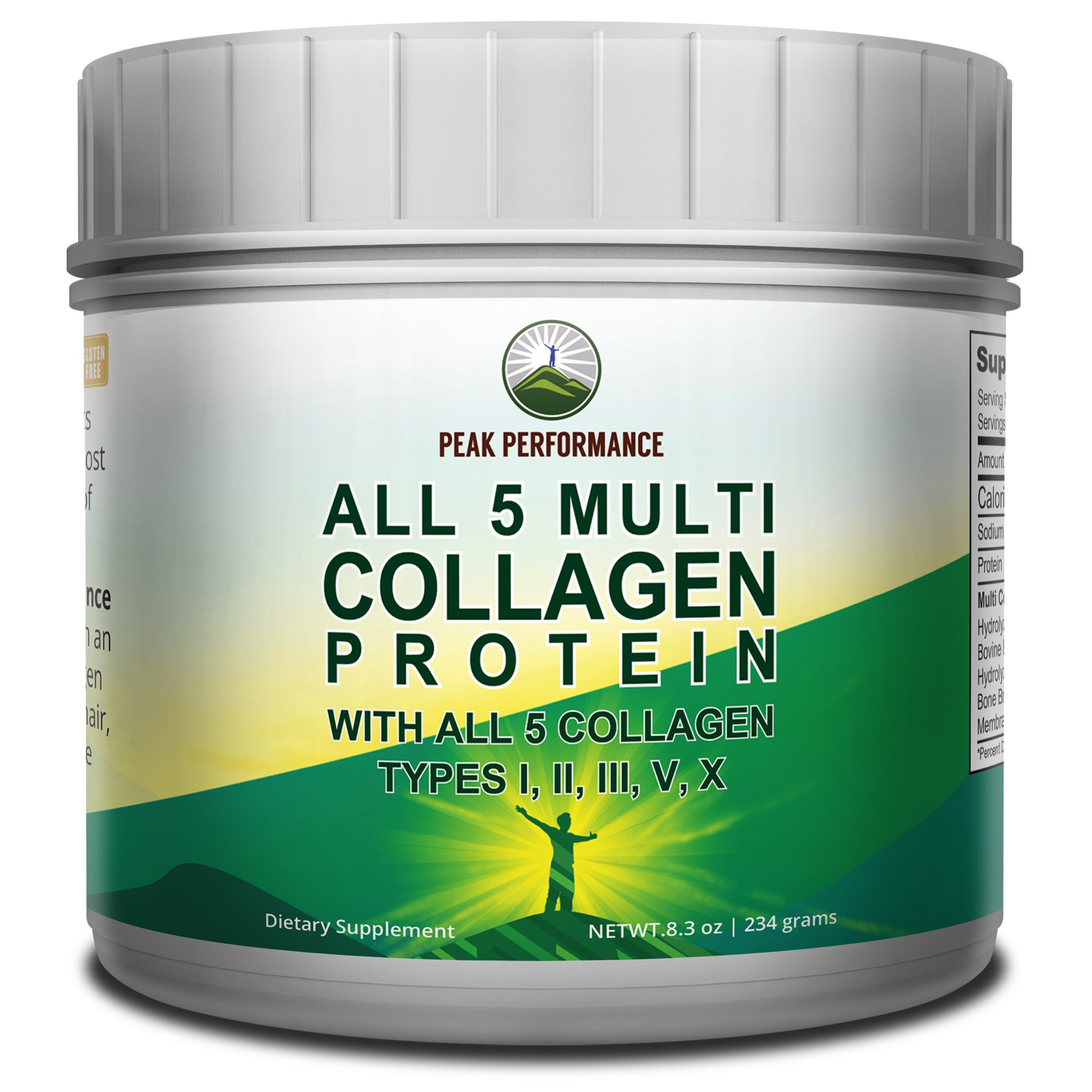 All 5 Multi-Collagen Protein Powder Peptides by Peak Performance. Multi-Collagen Contains All Types I, II, III,V, X. Keto, Paleo Friendly with Hydrolyzed Bovine, Marine, Chicken, Bone Broth Collagens by Peak Performance