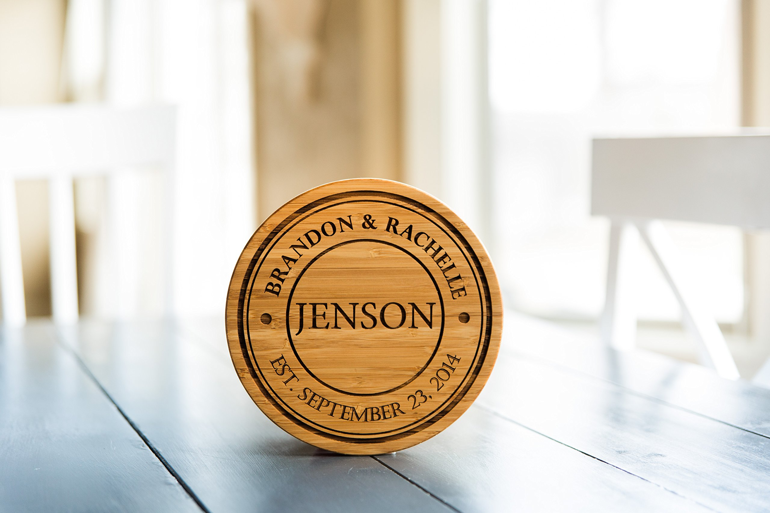 Personalized Coasters Trivets for Hot Dishes - 7inch Kitchen Wood Trivet, Personalized Wedding Gifts (Jenson Design, Set of 2)