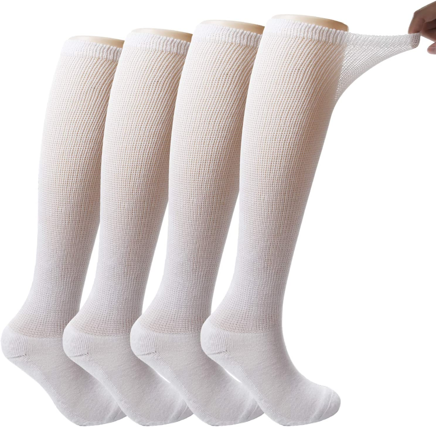 +MD 4 Pack Men's Extra Wide Non-Binding Diabetic and Circulatory Bamboo Over The Knee Socks with Cushioned Sole 4White10-13