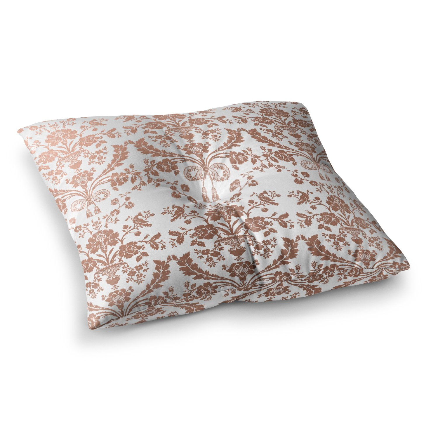 Kess InHouse Kess Original Baroque Rose Gold Abstract Floral, 23' x 23' Square Floor Pillow