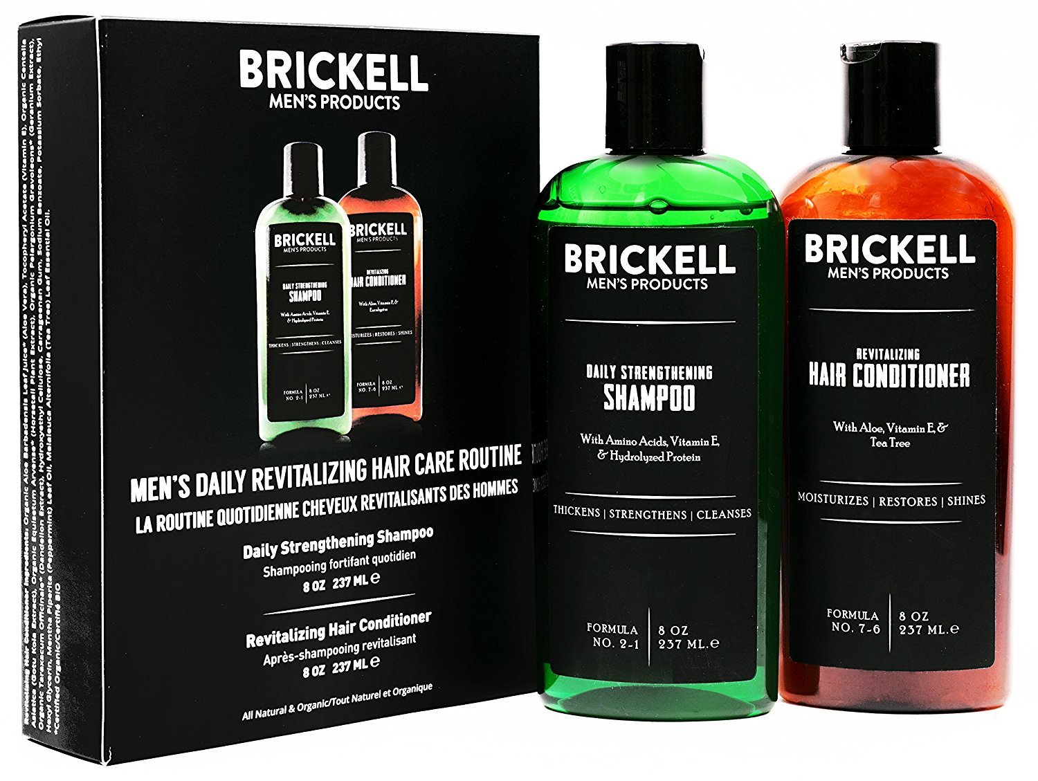 Brickell Men's Daily Revitalizing Hair Care Routine, Mint and Tea Tree Oil Shampoo, Strength and Volume Enhancing Conditioner, New Formula, Natural and Organic
