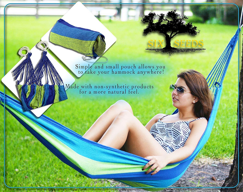Hamacas Colgantes Jardin Exterior Algodon Lona Hamaca Port/átil al Aire Libre Acampada Viaje para 2 Personas Carga de 300 kg Colorido 2 Personas, Azul