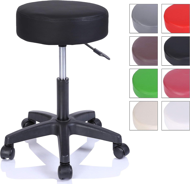 Taburete con ruedas taburete giratorio cosmético de trabajo consulta, regulable en altura, giratorio en 360°, con asiento acolchado de 10 cm y 8 variantes de colores (Negro)