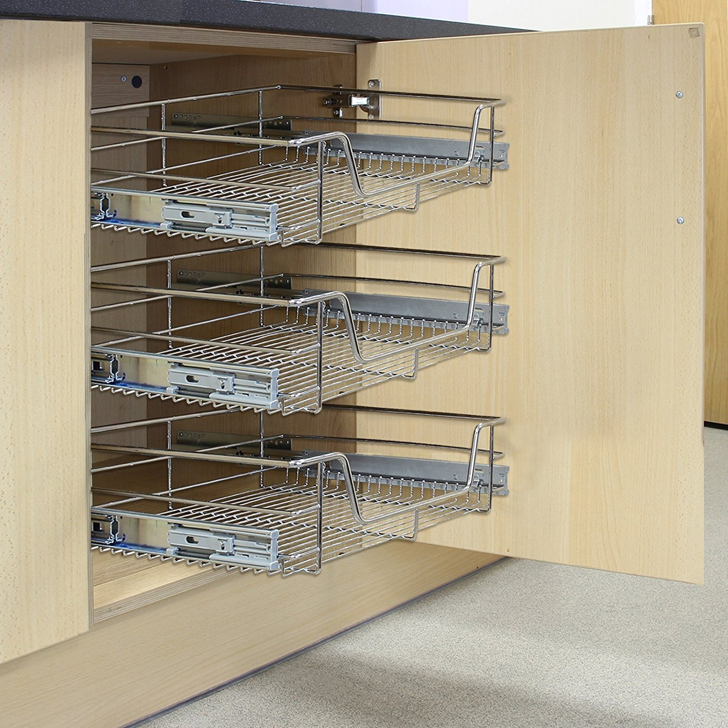KuKoo 3 x Kitchen Pull Out Soft Close Baskets, 400mm Wide Cabinet, Slide Out Wire Storage Drawers MonsterShop