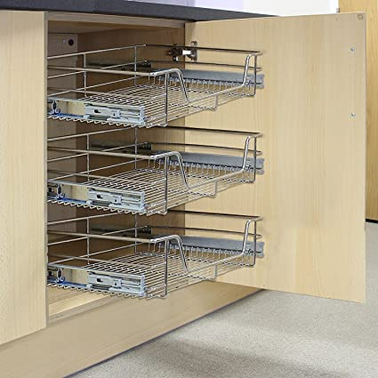 Kukoo 3 X Kitchen Pull Out Soft Close Baskets 400mm Wide Cabinet Slide Out Wire Storage Drawers