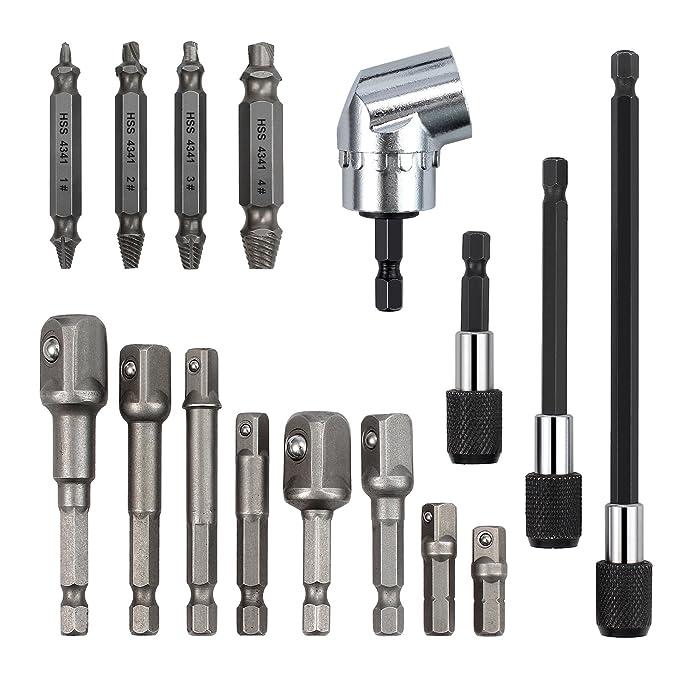Ginode 8Pcs Socket Adapter Impact Hex Shank Drill Bits Bar Set 1//4 3//8 1//2 1Pcs 105/°1//4 Right Angle Drill Adapter Attachment Extension Tool