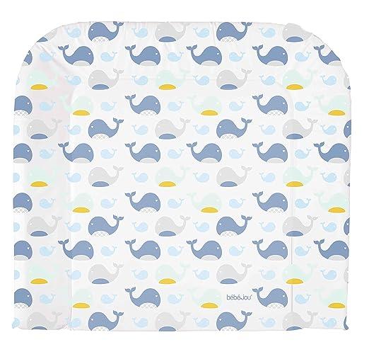 bébé-jou 6802102 Wickelauflage 3K Wally Whale, weiß