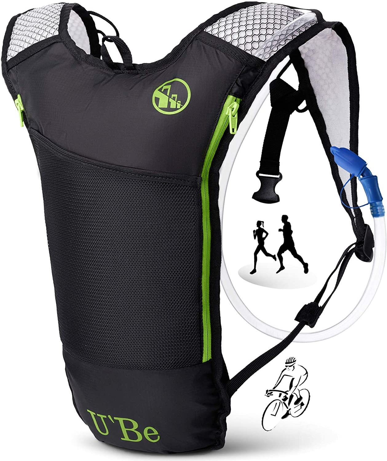 Amazon.com : U`Be Hydration Backpack Pack with 2l Water Bladder - Small  Camelback for Kids Men & Women - Running Hiking Cycling : Sports & Outdoors