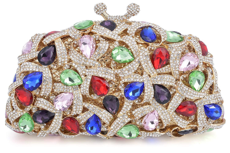 Mossmon Luxury Crystal Clutch Rhinestones Evening Bag (Gold/multicolor)