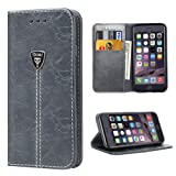 iPhone 6S Case,Slim Magnetic Leather Wallet Flip Folio Case Cover for Apple iPhone 6 6S 4.7 Inch - Gray
