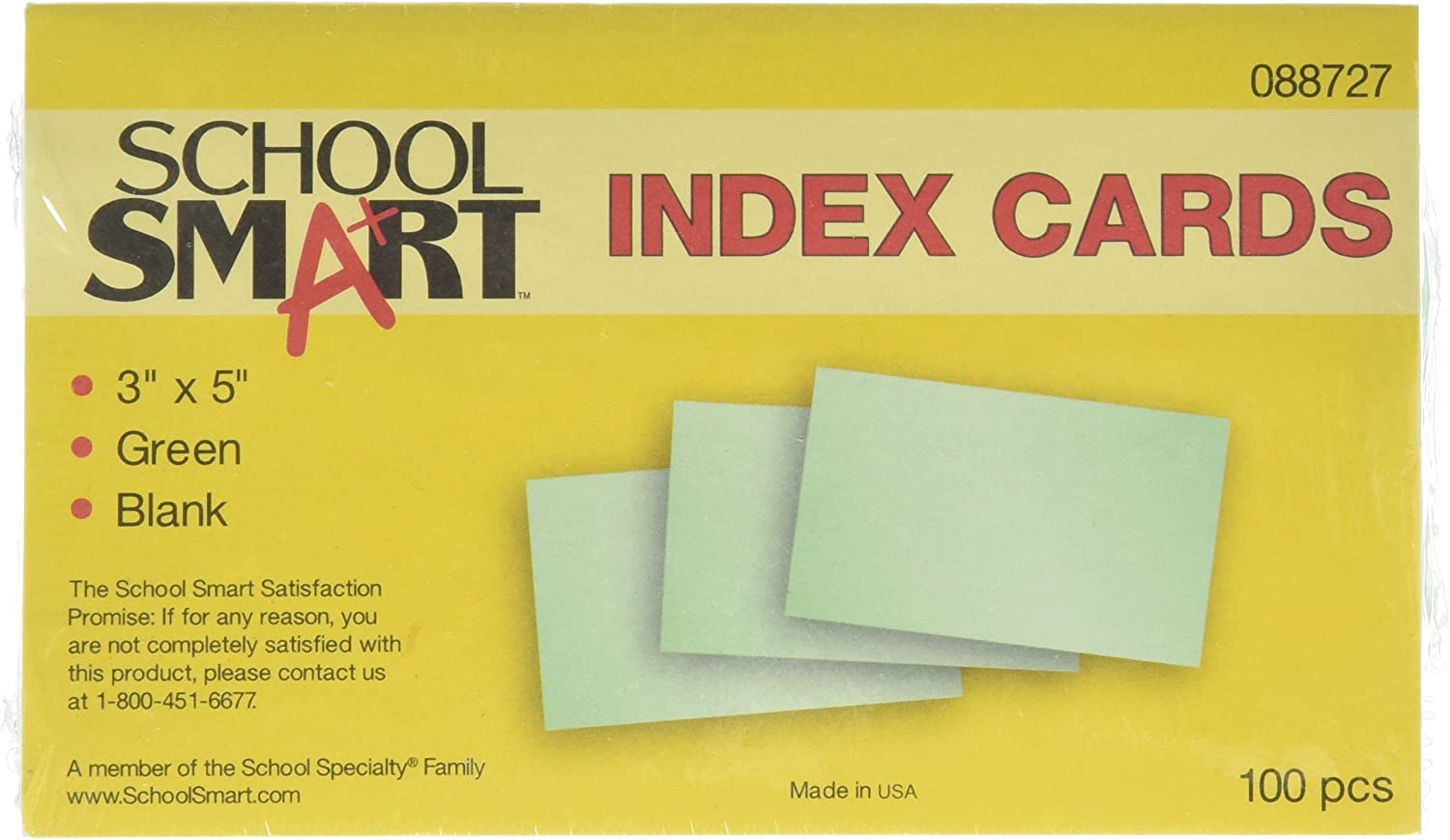 3 x 5 Inches Green Pack of 100 School Smart Blank 90# Plain Index Card
