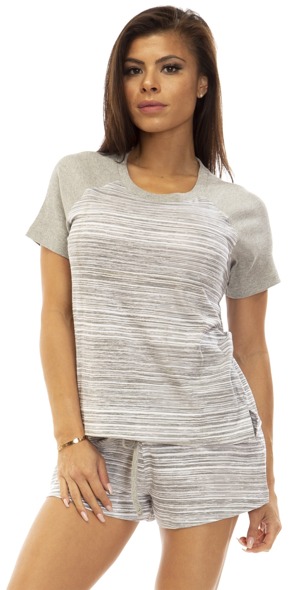 IZOD (6644IZ) Womens Womens 100% Cotton Raglan Sleeve Pajama Lounge Short Set Size: XLarge in Gray (020)