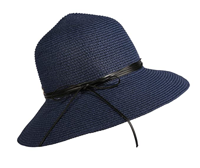 483db100 Image Unavailable. Image not available for. Color: Home Prefer Womens Straw  Sun Hat UPF50+ Wide Brim Floppy Hat Summer Beach Cap (B