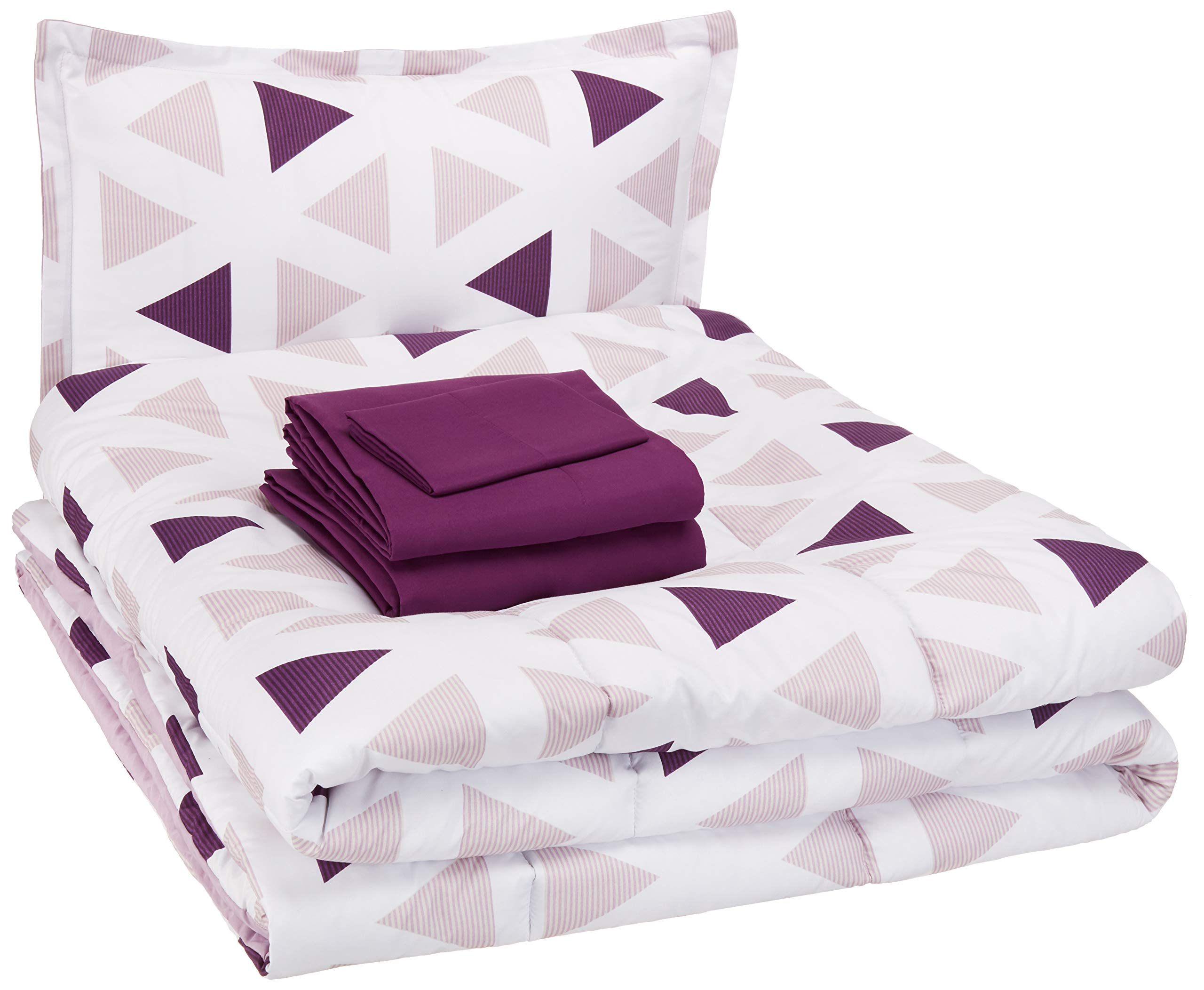 CDM product AmazonBasics Easy-Wash Microfiber Kid's Bed-in-a-Bag Bedding Set - Twin, Purple Triangles big image