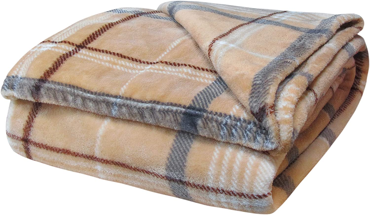 Velosso Teddy Super Soft Thermal Soft Cuddly Flannelette Throwover 130x180 Large 1 Seater Sofa//Bed Blanket Throw Cream