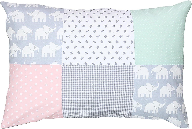 Funda de almohada para bebé de ULLENBOOM ® de 40x60 cm con elefantes menta rosa (con cremallera; apta también para cojines decorativos; dibujo:patchwork)