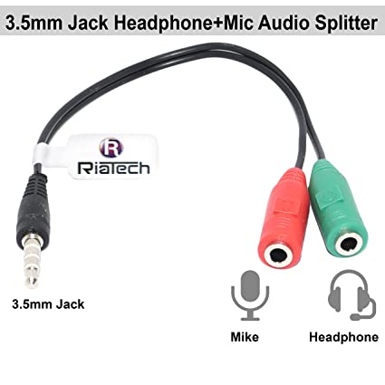 buy riatech 3 5 mm audio jack to headphone microphone splitter converter  adaptor cable (multicolour) online at low prices in india - amazon in
