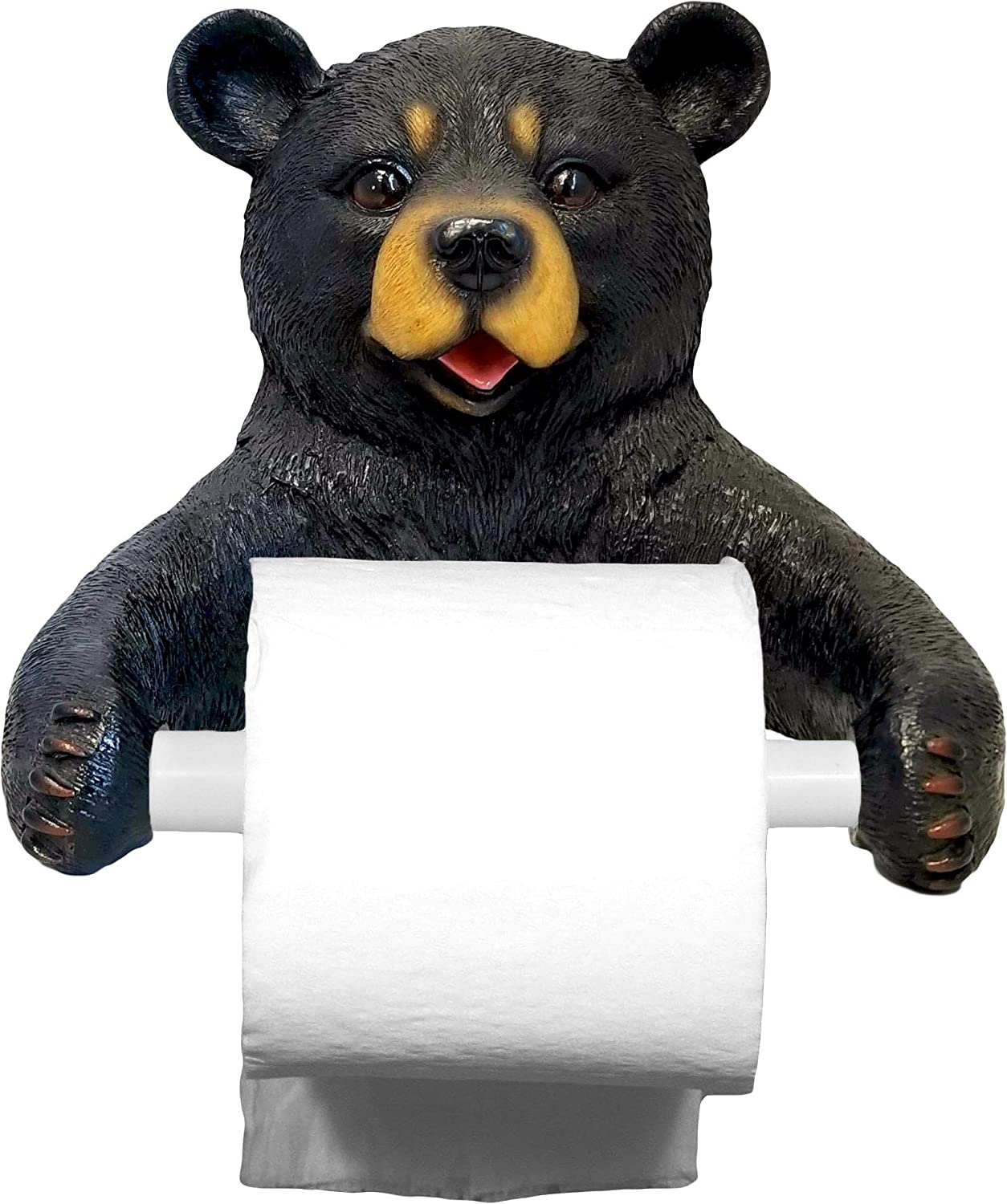 DWK 8-inch Hugo Holder Black Bear Toilet Paper Holder Rustic Woodland Forest Themed Kitchen Bathroom Cabin Decor