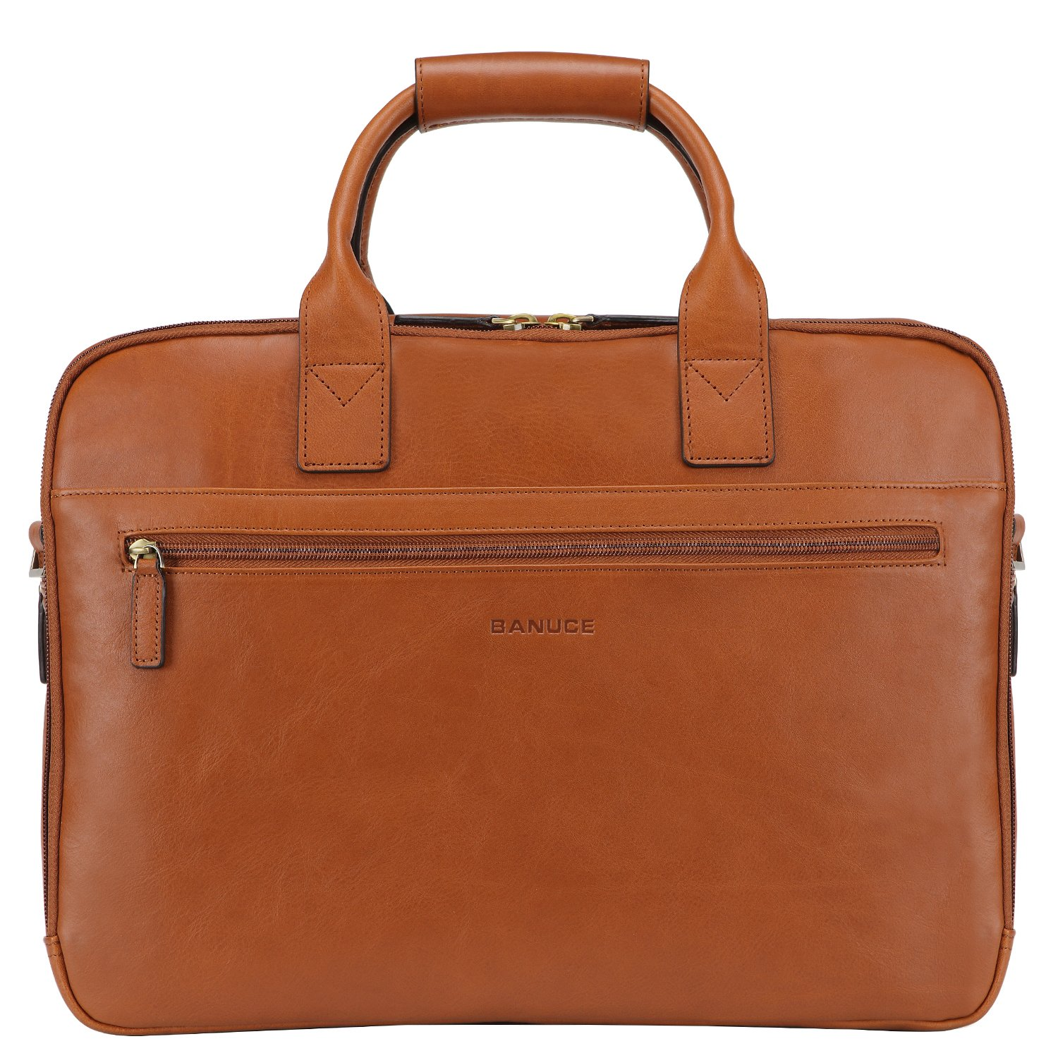 Banuce Italian Leather Tote Briefcase Business 15 inch Laptop Bag Color Beige