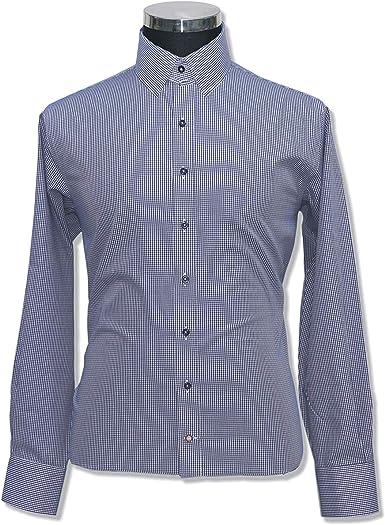 WhitePilotShirts Camisa de Cuadros Azul Marino con Cuello de Lazo de algodón 100% Mangas largas, puños Individuales para Hombre 200 – 16 Azul Marino Cuadros Cuadros #200-16 17.5: Amazon.es: Ropa y accesorios