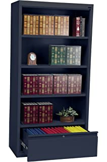Sandusky Lee BD30361872 A6 System Series Bookcase With File Drawer, Navy  Blue