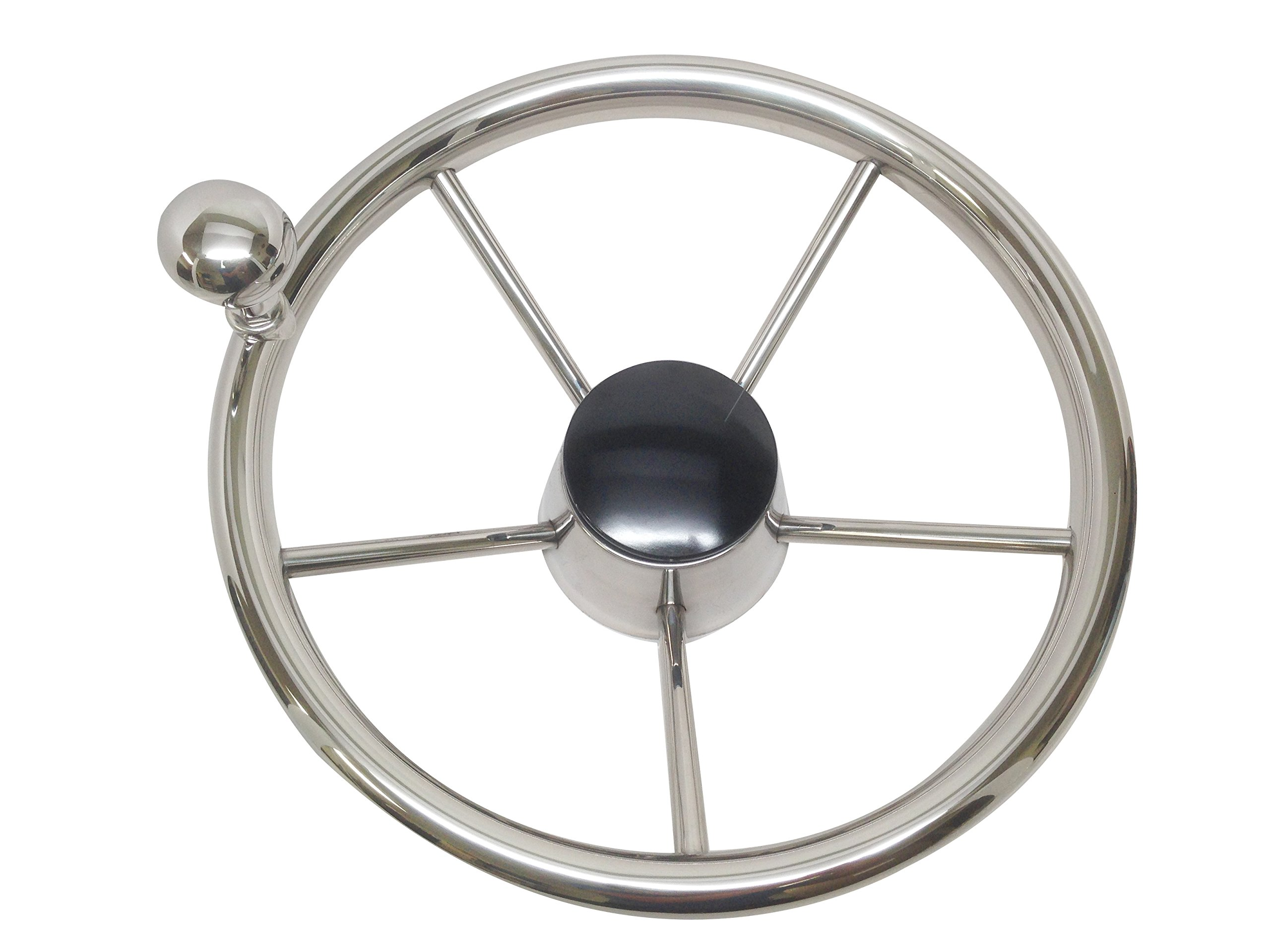 Pactrade Marine Boat 5 Spoke Steering Wheel with Turing Knob 13 1/2'' Dia Stainless Steel